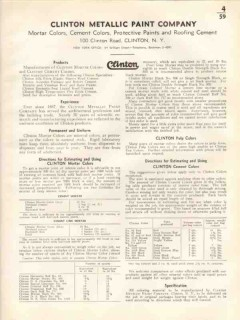 Clinton Metallic Paint Company 1938 Vintage Catalog Cement Mortar