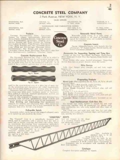 Concrete Steel Company 1938 Vintage Catalog Reinforcement Bars Joists
