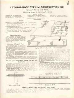 Lathrop-Hoge Gypsum Construction Company 1938 Vintage Catalog Roofing