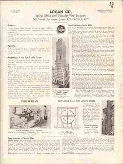 Logan Company 1938 Vintage Catalog Spiral Slide Tubular Fire Escapes