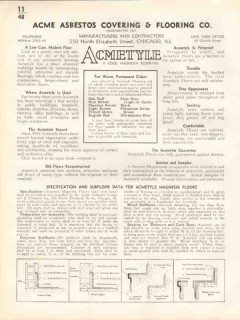 Acme Asbestos Covering Flooring Company 1938 Vintage Catalog Acmetyle