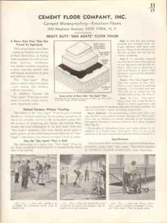 Cement Floor Company 1938 Vintage Catalog Heavy-Duty San Agate Finish