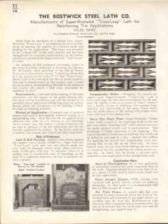 Bostwick Steel Lath Company 1938 Vintage Catalog Tile Wall Truss-Loop