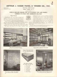 Arthur J Rieser Panel Veneer Company 1938 Vintage Catalog Plywood Tops