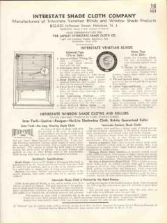 Interstate Shade Cloth Company 1938 Vintage Catalog Venetian Blinds