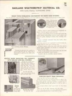 Barland Weatherstrip Material Company 1938 Vintage Catalog Windows