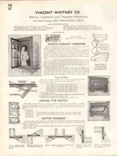 Vincent Whitney Company 1938 Vintage Catalog Casement Hardware Whitco