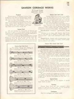 Samsom Cordage Works 1938 Vintage Catalog Blinds Cord Braided Cotton