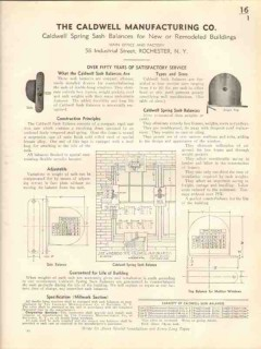Caldwell Mfg Company 1938 Vintage Catalog Window Spring Sash Balances