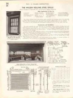 J G Wilson Corp 1938 Vintage Catalog Rolling Steel Grille Intrusion