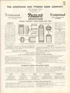 Compound Pyrono Door Company 1938 Vintage Catalog Fireproof Wood