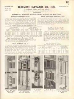Beckwith Elevator Company 1938 Vintage Catalog Undercounter Dumbwaiter