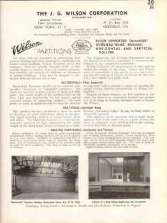 J G Wilson Corp 1938 Vintage Catalog Sectionfold Multifold Partitions