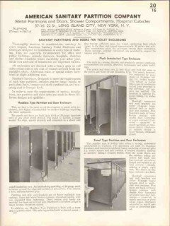 American Sanitary Partition Company 1938 Vintage Catalog Toilet Panels