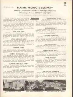 Plastic Products Company 1938 Vintage Catalog Putty Caulking Plastoid