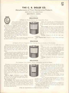 C B Dolge Company 1938 Vintage Catalog Floor Finish Dolcorock Dolcovar