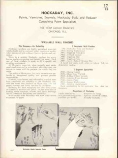 Hockaday Inc 1938 Vintage Catalog Paints Washable Wall Finishes