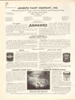 Arnesto Paint Company 1938 Vintage Catalog Primo Imperial Paste White