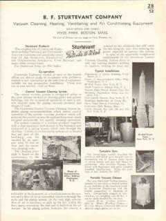 B F Sturtevant Company 1938 Vintage Catalog Central Vacuum Cleaning