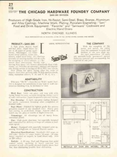 Chicago Hardware Foundry Company 1938 Vintage Catalog Hand Sani-Dri