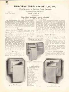 Pullclean Towel Cabinet Company 1938 Vintage Catalog Cloth Continuous