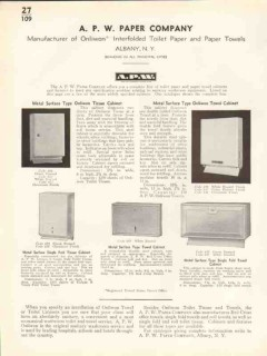 A P W Paper Company 1938 Vintage Catalog Onliwon Tissue Towel Cabinet