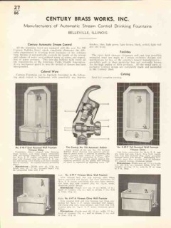 Century Brass Works Inc 1938 Vintage Catalog Water Drinking Fountains