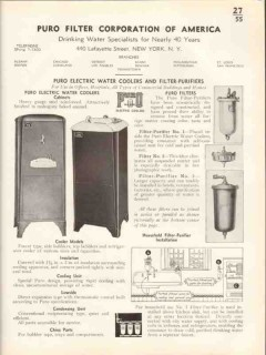 Puro Filter Corp 1938 Vintage Catalog Water Coolers Purifiers Electric
