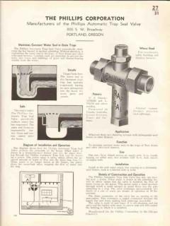 Phillips Corp 1938 Vintage Catalog Plumbing Valve Drain Trap Seal