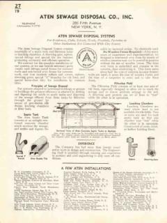 Aten Sewage Disposal Company 1938 Vintage Catalog Plumbing Septic Tank