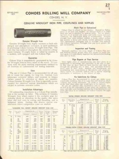 Cohoes Rolling Mill Company 1938 Vintage Catalog Wrought Iron Pipe