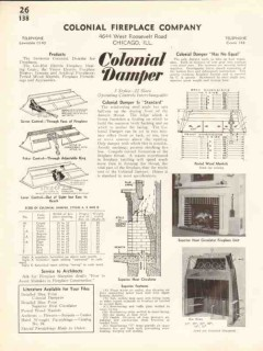 Colonial Fireplace Company 1938 Vintage Catalog Heat Circulator Damper