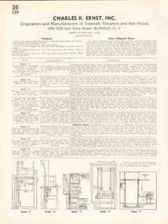 Charles K Ernst Inc 1938 Vintage Catalog Elevators Sidewalk Ash Hoists