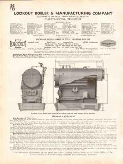 Lookout Boiler Mfg Company 1938 Vintage Catalog Heggie-Simplex Steel