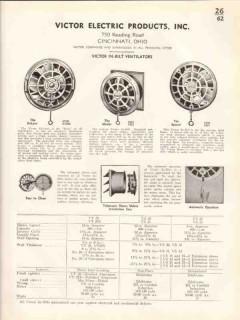Victor Electric Products Inc 1938 Vintage Catalog Ventilators In-Bilt