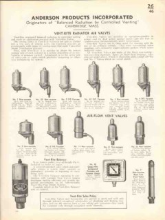 Anderson Products Inc 1938 Vintage Catalog Radiator Valves Vent-Rite
