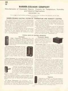 Barber-Colman Company 1938 Vintage Catalog Temperature Humid Control