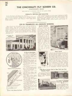 Cincinnati Fly Screen Company 1938 Vintage Catalog Zip-In Frameless