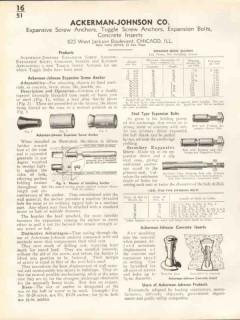 Ackerman-Johnson Company 1938 Vintage Catalog Hardware Screw Anchors