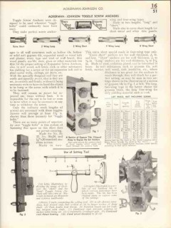 Ackerman-Johnson Company 1938 Vintage Catalog Hardware Screw Anchors