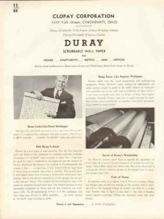Clopay Corp 1938 Vintage Catalog Wall Paper Duray Scrubbable Swatches