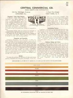 Central Commercial Company 1938 Vintage Catalog Vogeliner Color Strip