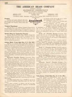 American Brass Company 1931 Vintage Catalog Anaconda Copper Zinc Tin