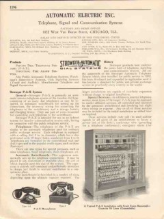 Automatic Electric Inc 1931 Vintage Catalog Strowger P-A-X Telephone