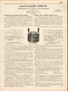 Calculagraph Company 1931 Vintage Catalog Elapsed Time Recorder