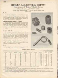 Clifford Mfg Company 1931 Vintage Catalog Hydron Metallic Bellows