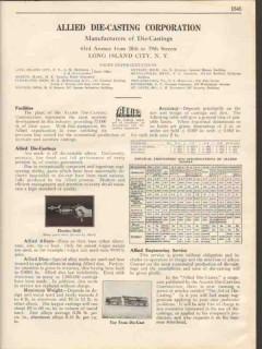 Allied Die-Casting Corp 1931 Vintage Catalog Alloys Aluminum Zinc Tin