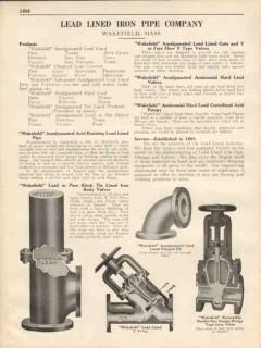 Lead Lined Iron Pipe Company 1931 Vintage Catalog Wakefield Amalgamate