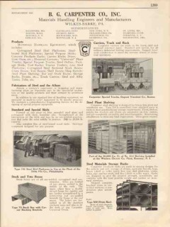 B G Carpenter Company 1931 Vintage Catalog Material Handling Skid Rack