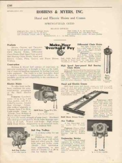 Robbins Myers Inc 1931 Vintage Catalog Trolleys Electric Hand Hoists